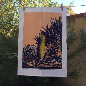 Photo of a Candle Banksia screenprinted on a tea towel.