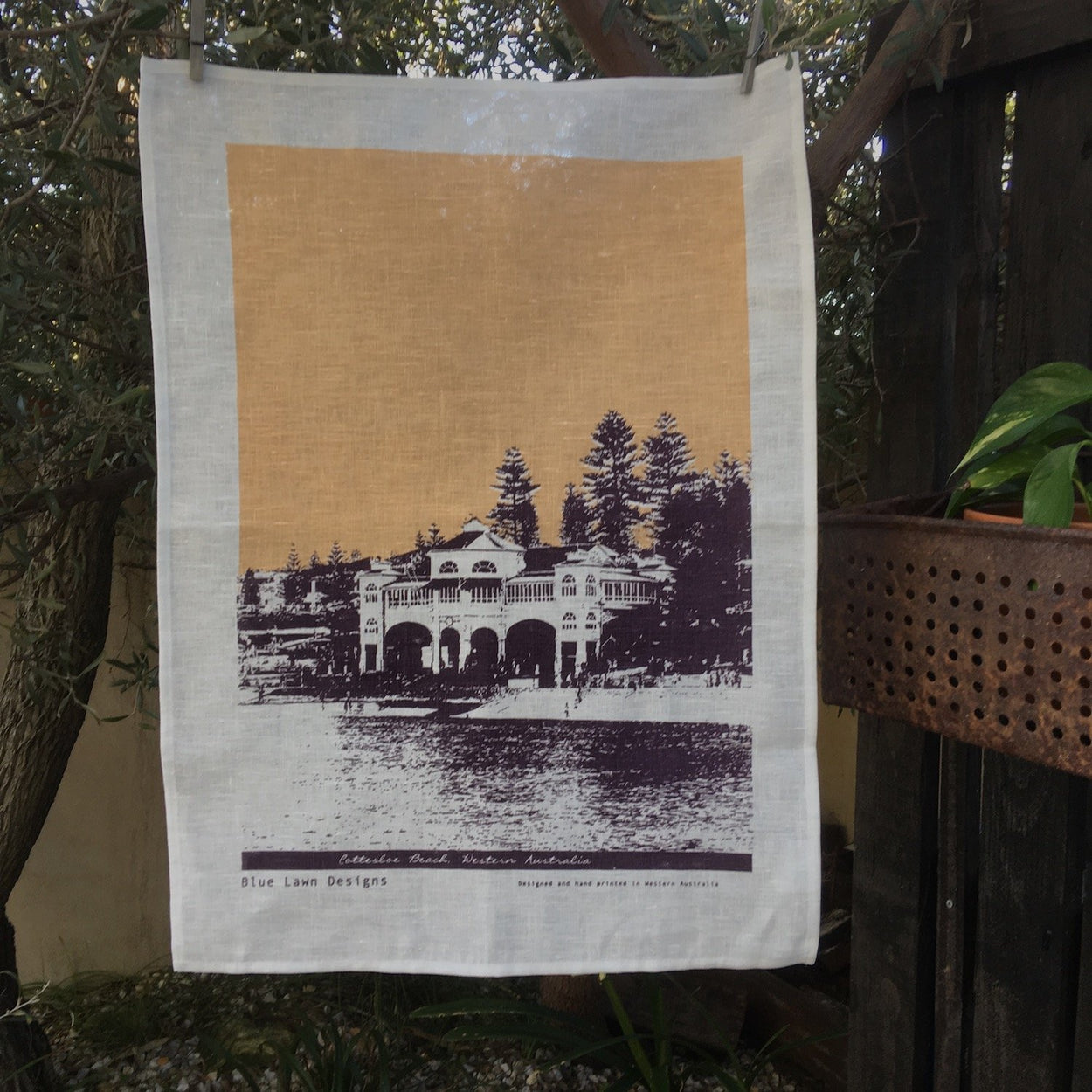 Photo of Cottesloe Beach screenprinted on a tea towel.