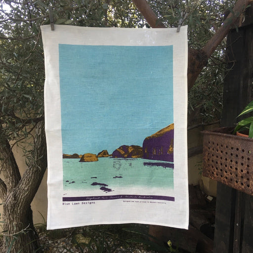 Photo of Elephant Cove, Western Australia screenprinted on a tea towel.