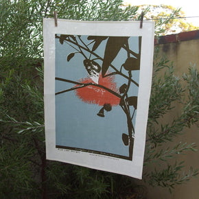 Photo of Eucalyptus screenprinted on a tea towel.