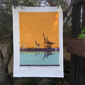 Photo of Fremantle Harbour screenprinted on a tea towel.