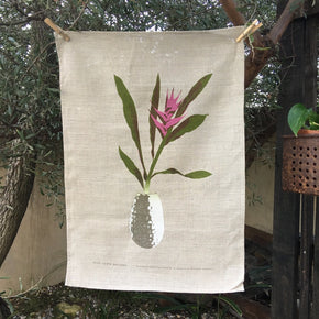 Photo of a ginger plant screenprinted on a tea towel.