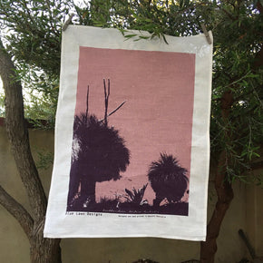 Photo of Western Australian grass trees screenprinted on a tea towel.