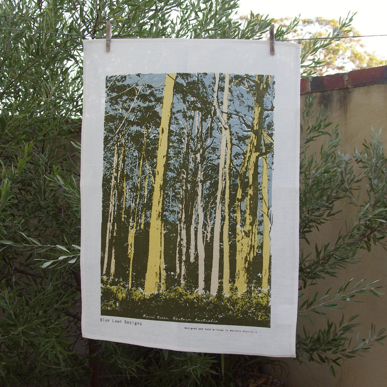 Photograph of Western Australian karri trees screenprinted on a tea towel.