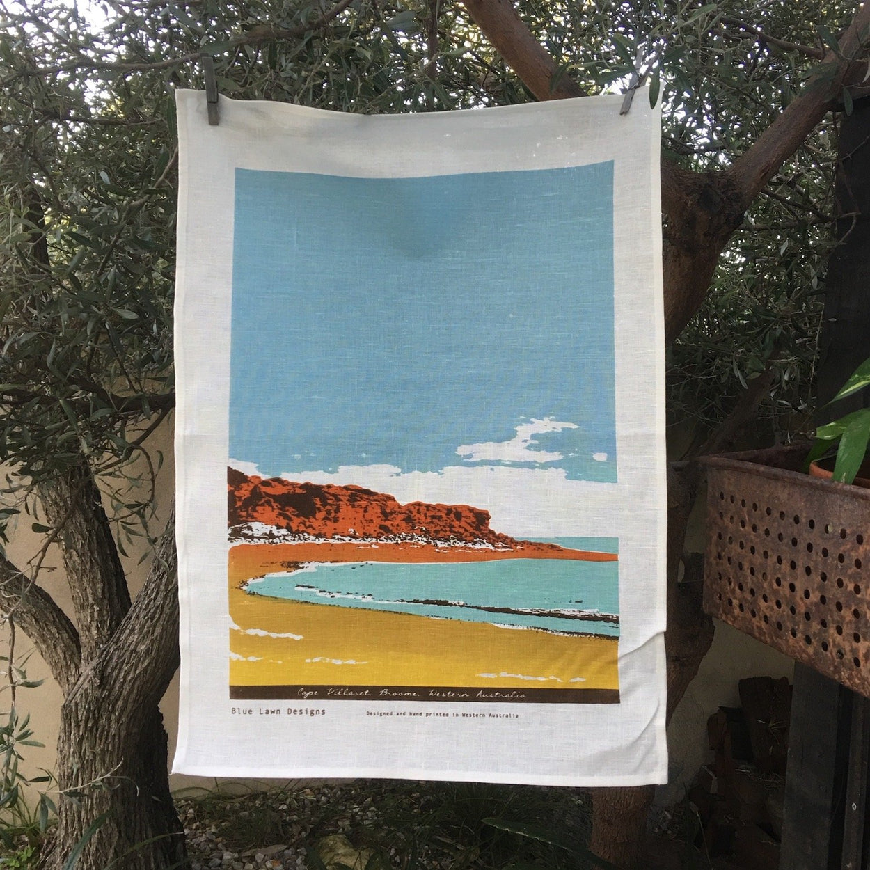 Photo of a Kimberley beach screenprinted on a linen tea towel.