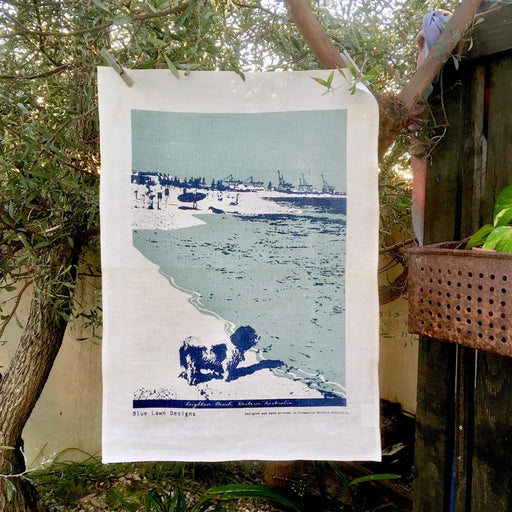 Photo from Leighton dog beach screenprinted on a tea towel.