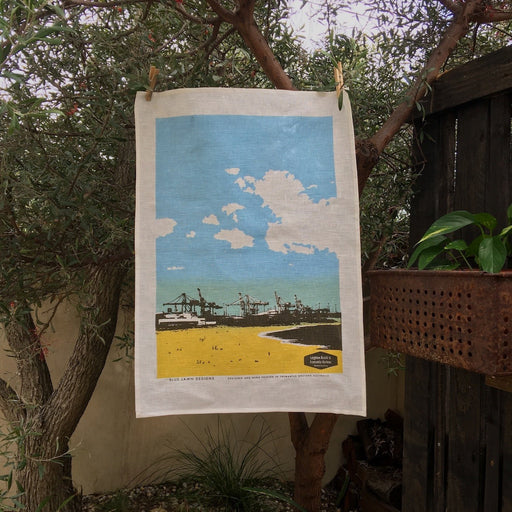 Photo of Leighton beach screen printed on a tea towel.