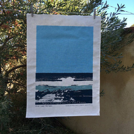 Photo of Margaret River surf screenprinted on a tea towel.