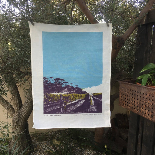 Photo of a Margaret River vineyard screenprinted on a tea towel.