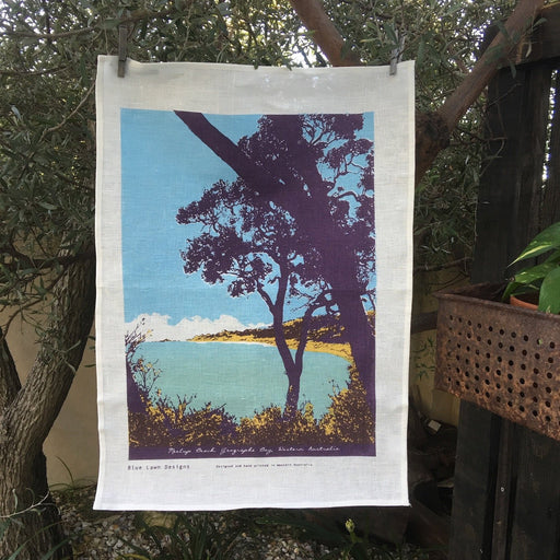 Photo of Meelup Beach, Western Australia screenprinted on a tea towel.