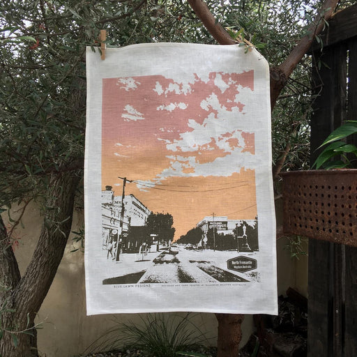 Photo of North Fremantle screenprinted on a tea towel.