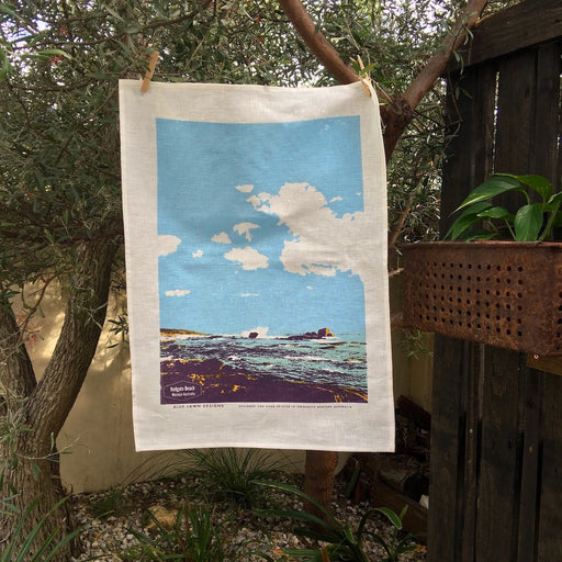 Photo of Redgate Beach, Western Australia screenprinted on a tea towel.