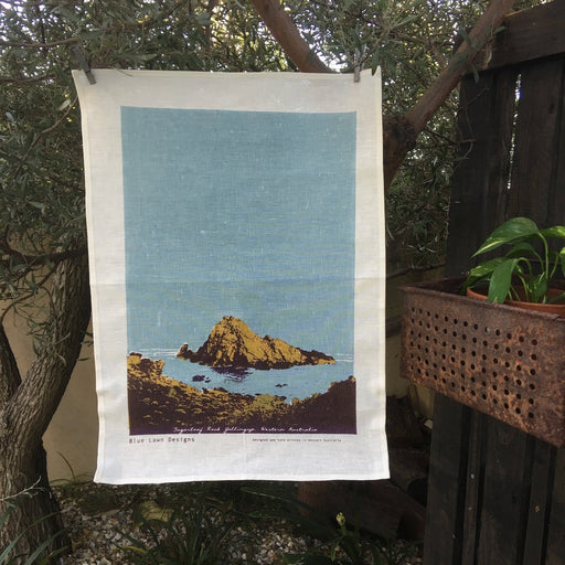 Photo of Sugarloaf Rock at Yallingup, Western Australia screen printed on a tea towel.
