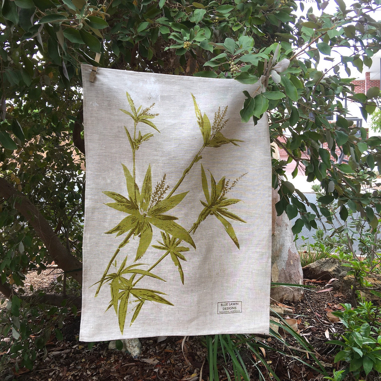 Tassel flower on oat-coloured tea towel