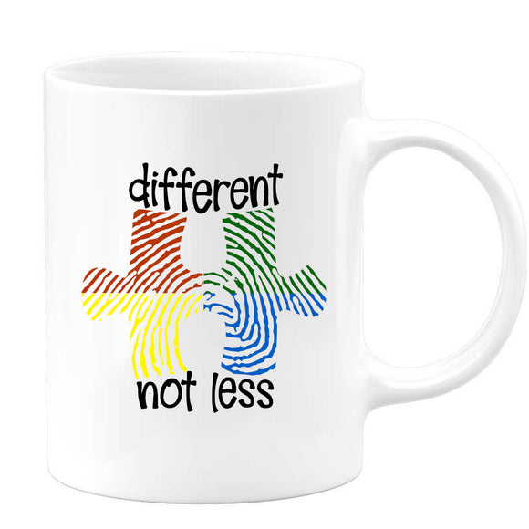 Autism - Different Not Less Colorful Fingerprint Mug