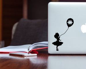 Autism Puzzle Balloon Girl - Autism Awareness Decal