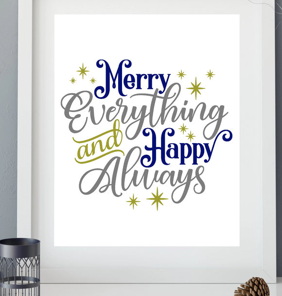 Merry Everything Happy Always Vinyl Decal - DIY Christmas Sign