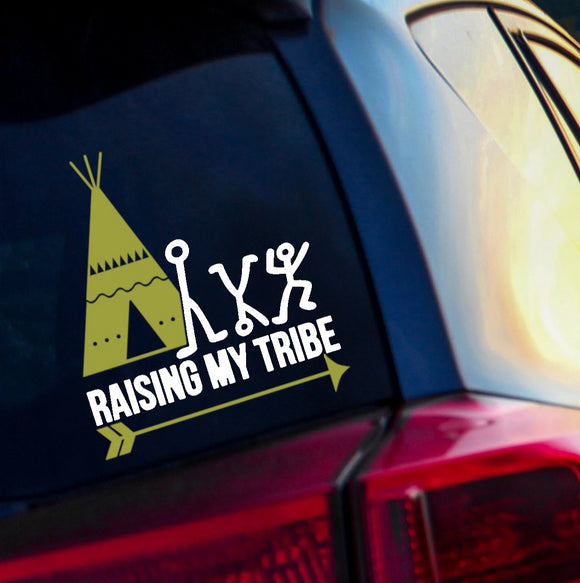 Raising My Tribe Stick Figure Vinyl Decal - Personalize this Decal