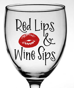 Red Lips & Wine Sips Vinyl Decal