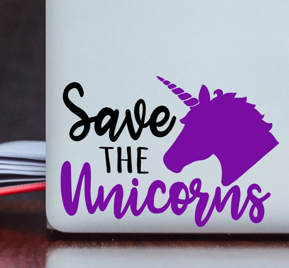 Save the Unicorns Vinyl Decal