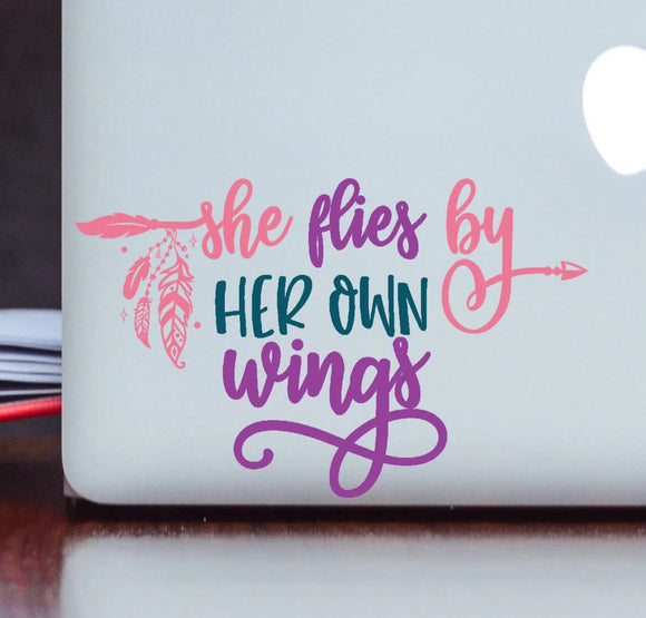 She Flies by Her Own Wings Vinyl Decal - Boho Decal