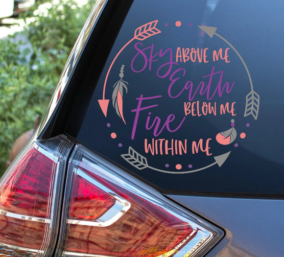 Sky Above Me Vinyl Decal - Boho Decal