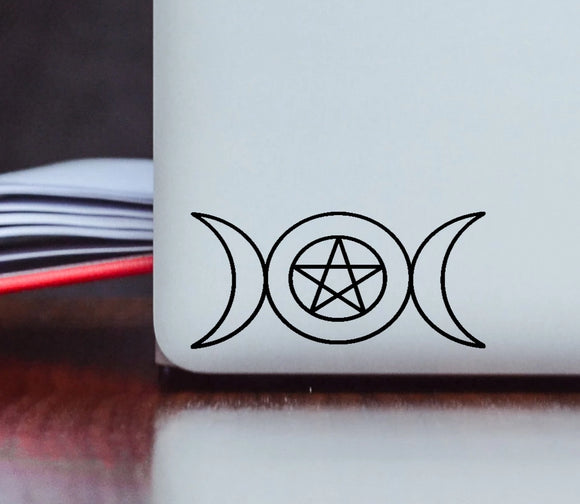 Triple Moon Wicca Symbol Vinyl Decal
