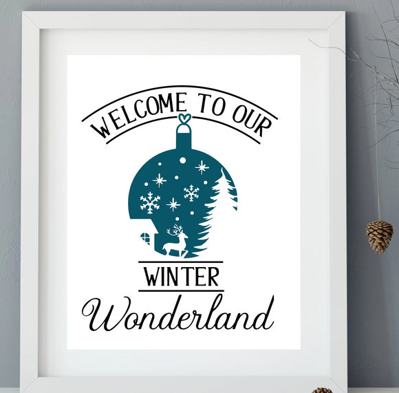 Welcome to Our Winter Wonderland Vinyl Decal - DIY Christmas Sign