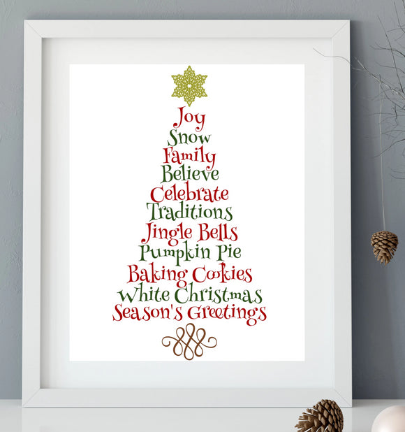 Christmas Tree Word Art Vinyl Decal - DIY Christmas Sign