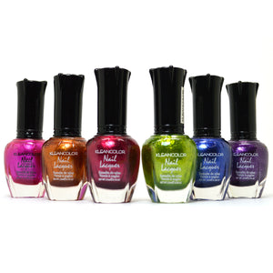 Kleancolor 6 Nail Polish Metallic Bold Color Lacquer Manicure Metallic01+ Free ZipBag