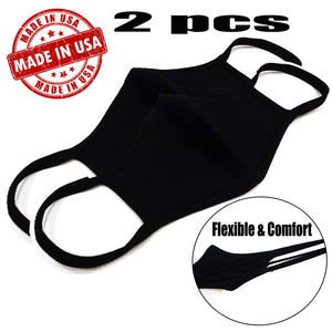 Made In USA ! 2 pcs x Face Mask Double Layer Reusable Washable Unisex Soft Black + free ZipBag