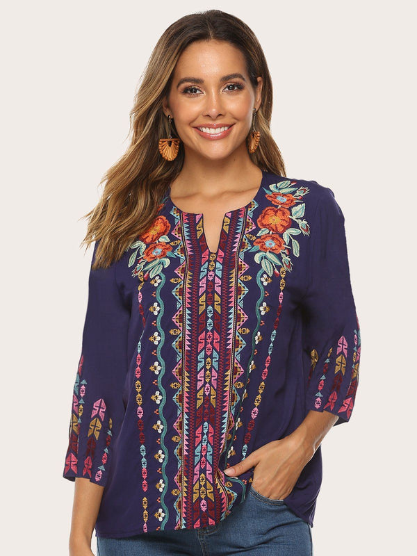 Glamorsoul Bohemian Embroidered Floral V Neck 3/4 Sleeve Blouses Best Gifts for the Season & Christmas