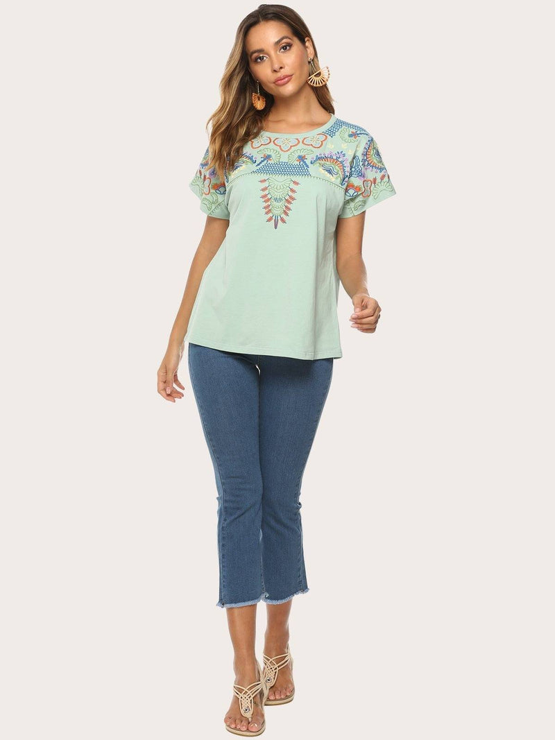 Glamorsoul Embroidered Bohemian Floral Round Neck Short Sleeve T Shirts Best Gifts for the Season & Christmas