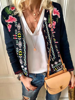 Glamorsoul Embroidered Floral Long Sleeve Round Neck Jackets Best Gifts for the Season & Christmas