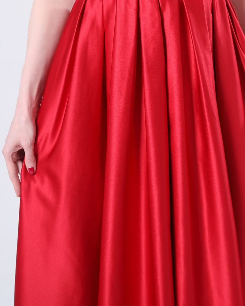 EverBridal A-Line V Neck Floor-Length Satin Prom Dresses With Ruffle Pockets
