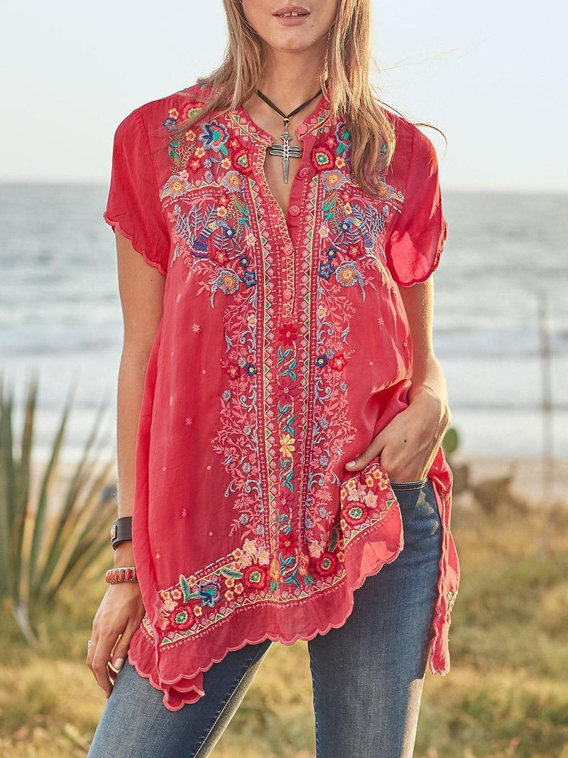 Glamorsoul Embroidered Bohemian Floral V Neck Short Sleeve Blouses Best Gifts for the Season & Christmas