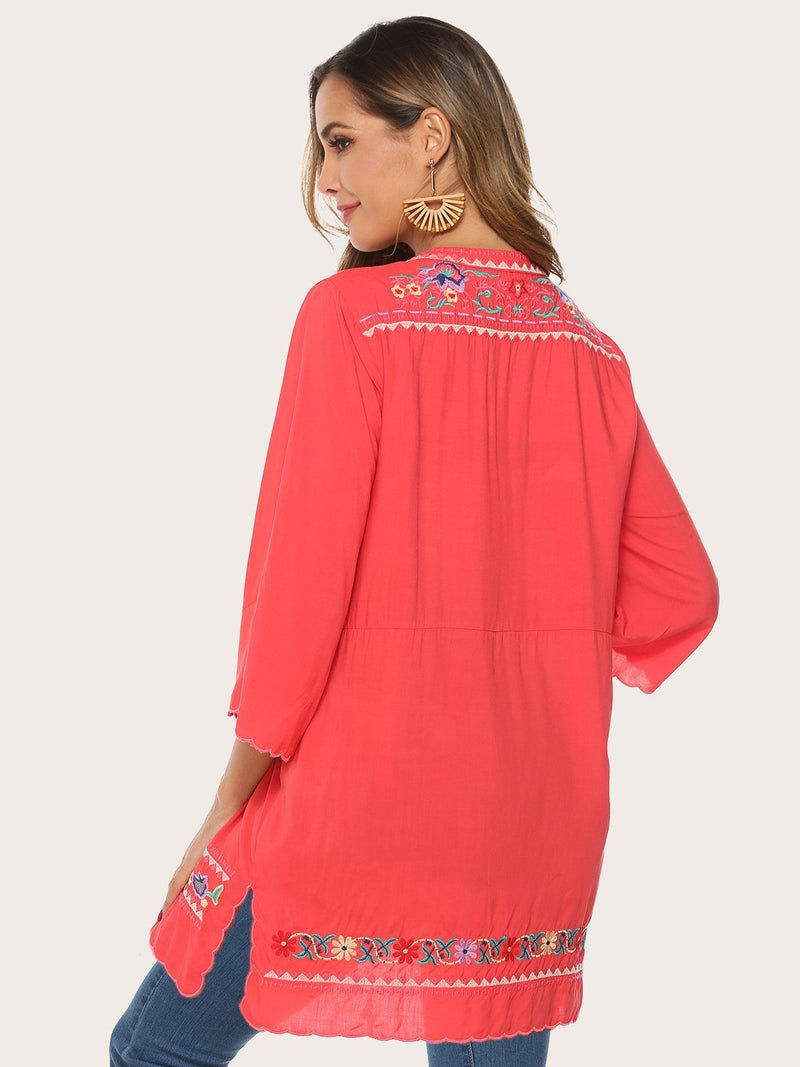 Glamorsoul Embroidered Bohemian Floral V Neck 3/4 Sleeve Blouses Best Gifts for the Season & Christmas