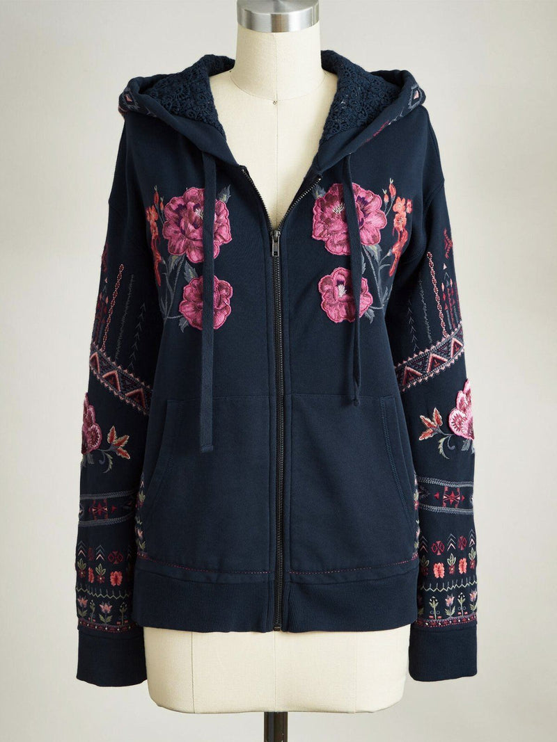 Glamorsoul Floral Bohemian Embroidered Dropped Shoulder Long Sleeve Zip Up Hooded Jacket Best Gifts for the Season & Christmas
