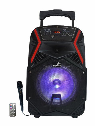 5000 Watts 8 Inch Party Speaker Bluetooth Connectivity FM Radio with Microphone and Trolley - Pickhud