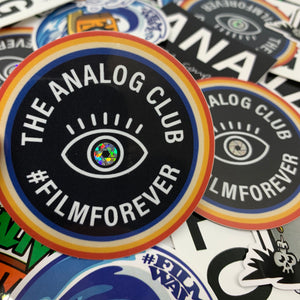 the analog club glitter sticker