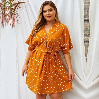 Robe Bohème Orange Grande Taille Cocktail