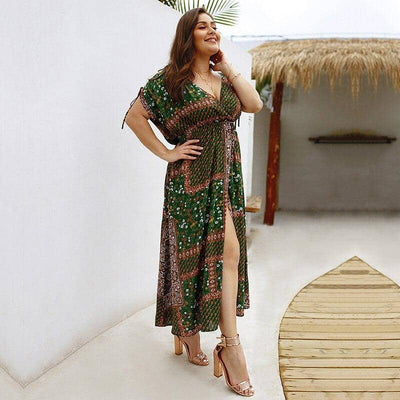Robe Cocktail Grande Taille Verte