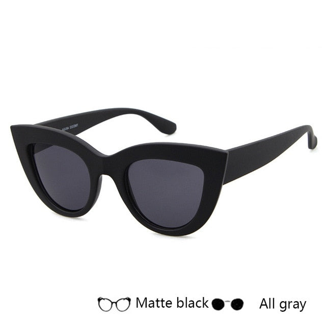 Women Retro Black Cat Eye Sunglasses