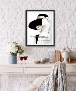 Audrey Hepburn Fashion Illustration Watercolor Art - OKSI Fine Art
