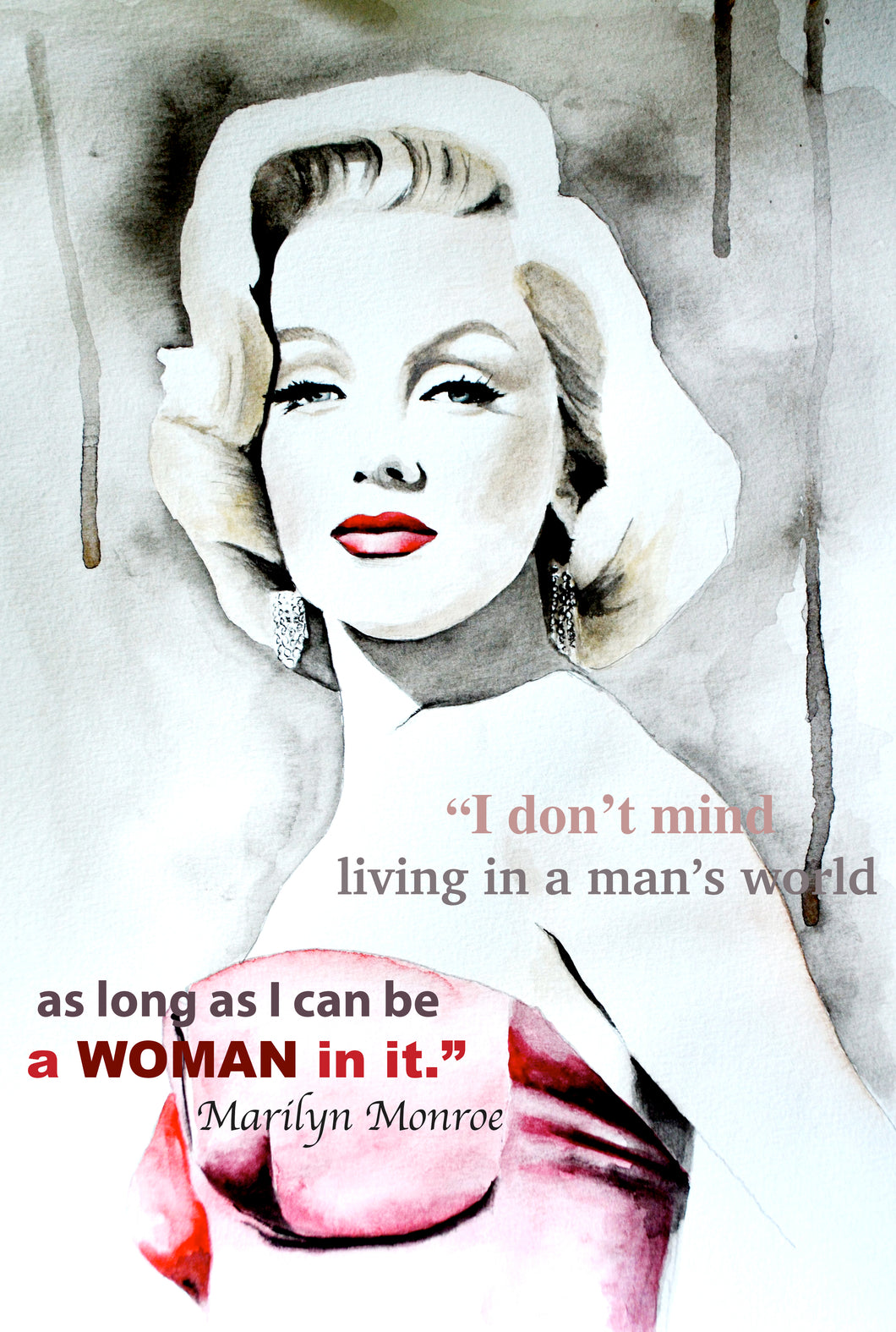 Marilyn Monroe Fashion Illustration Watercolor Art - OKSI Fine Art