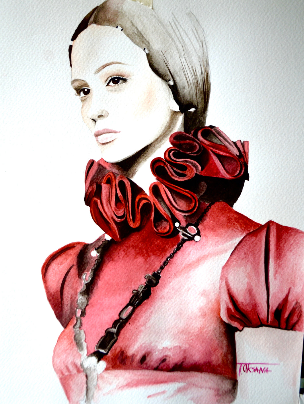 Red Valentino Fashion Illustration Watercolor Art - OKSI Fine Art