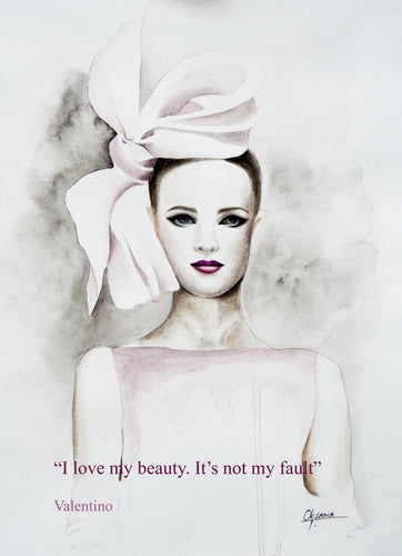 Valentino Bow Fashion Illustration Watercolor Art - OKSI Fine Art