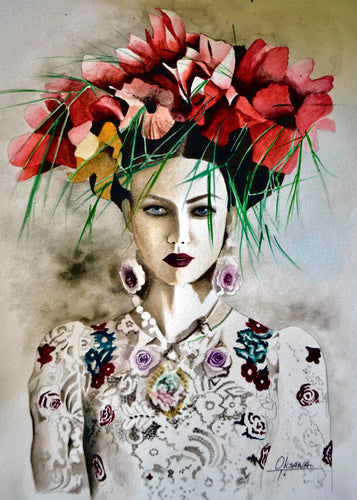 D&G Wreath Fashion Illustration Watercolor Art - OKSI Fine Art