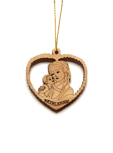 Olive wood Mary and Jesus heart decoration
