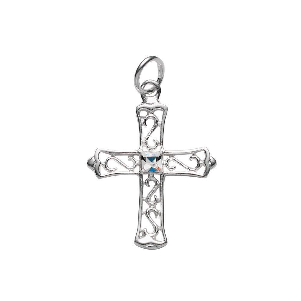 Silver filigree cross with one crystal